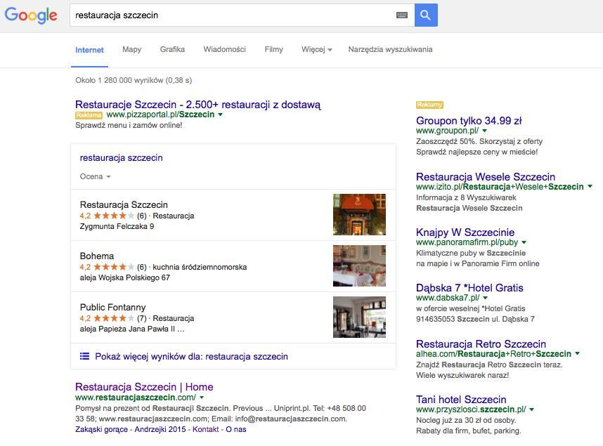 Lokalne SEO: Restauracja Szczecin w Google