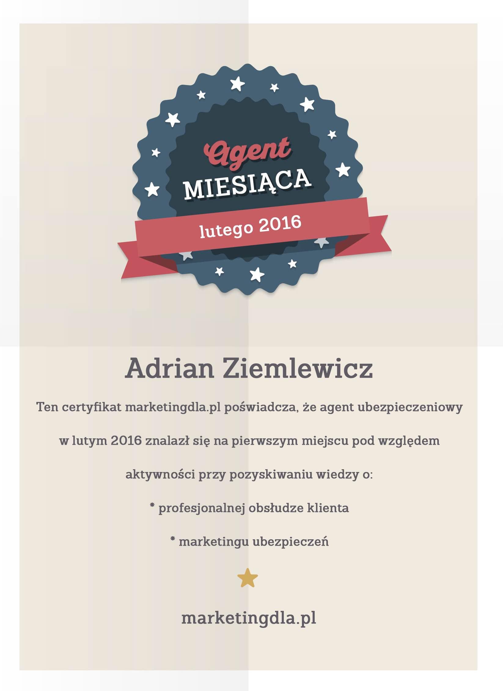 Certyfikat: Agent Ubezpieczeniowy miesiąca lutego
