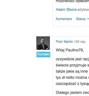 """Na ubezpieczeniapoludzku.pl, pod każdą odpowiedzią agenta ubezpieczeniowego widoczny jest przycisk """"kontakt"""" umożliwiający zdobycie nowego klienta na ubezpieczenia."""