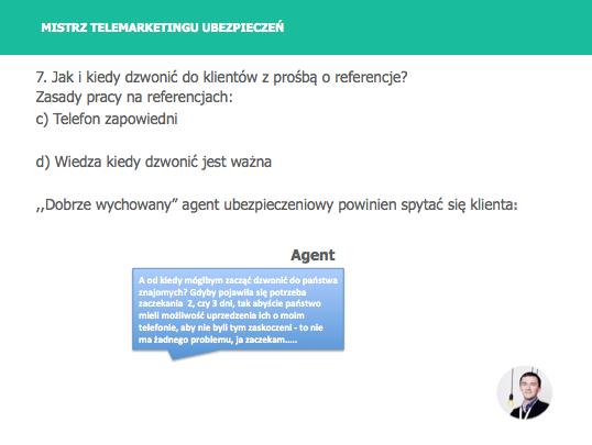Przykładowy slajd z kursu Mistrz Telemarketingu Ubezpieczeń. Slajd 81: Telefon zapowiedni