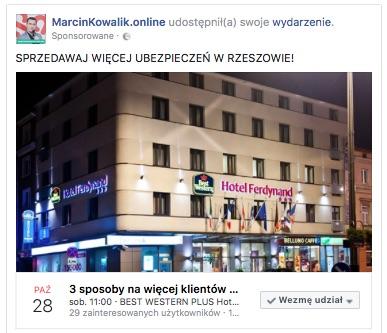 Reklama na Facebooku promująca szkolenia dla agentów ubezpieczeniowych w Rzeszowie