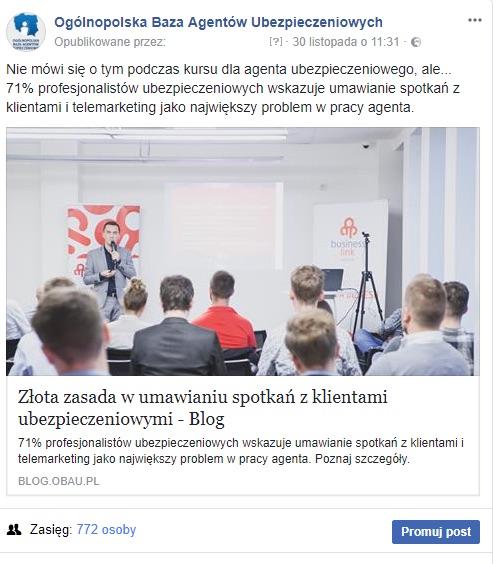 """Post na fanpage, promujący webinar """"Złota zasada w umawianiu spotkań z klientami ubezpieczeniowymi"""""""