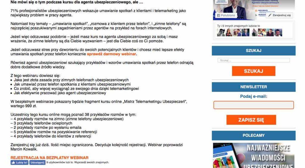 """Zrzut ekranu z tekstu na blog.obau.pl, zapraszającego do webinaru """"Złota zasada w umawianiu spotkań z klientami ubezpieczeniowymi"""""""